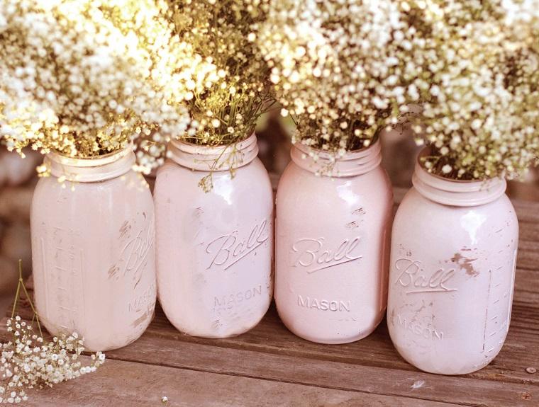 accessori shabby chic barattolo colorato rosa usato vaso