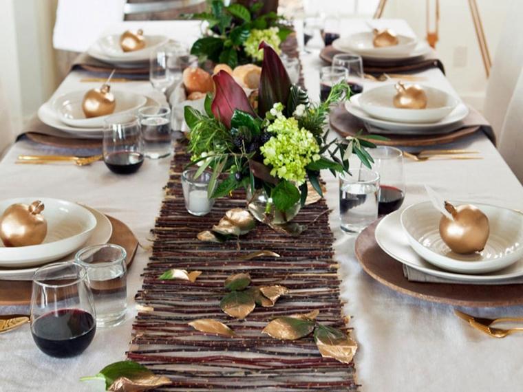 addobbare la tavola mele foglie oro fiori