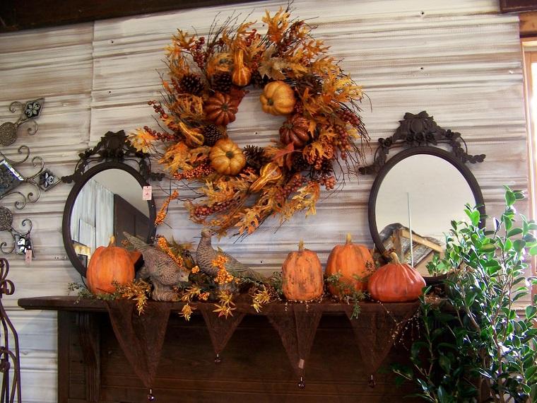 addobbi autunnali decorazioni camino zucca