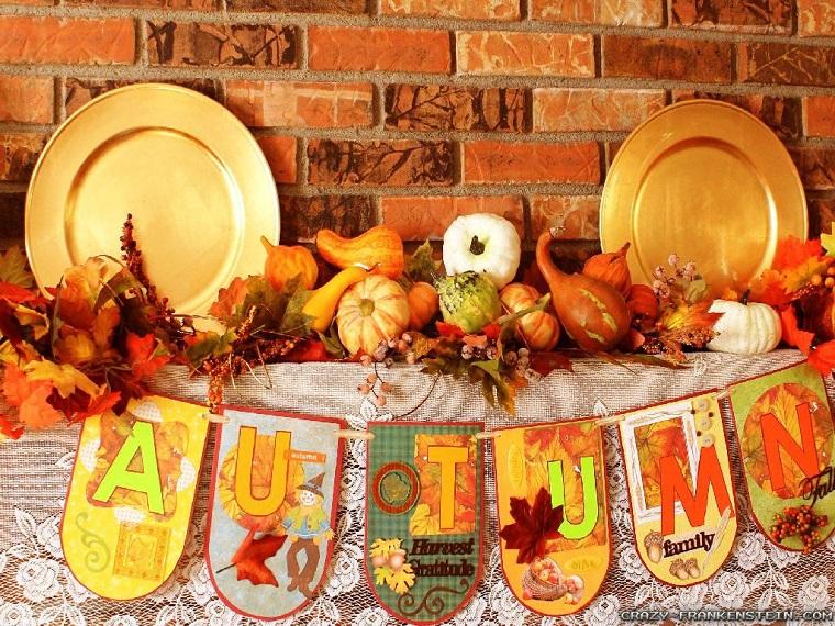 addobbi autunnali scritta decorata autunno
