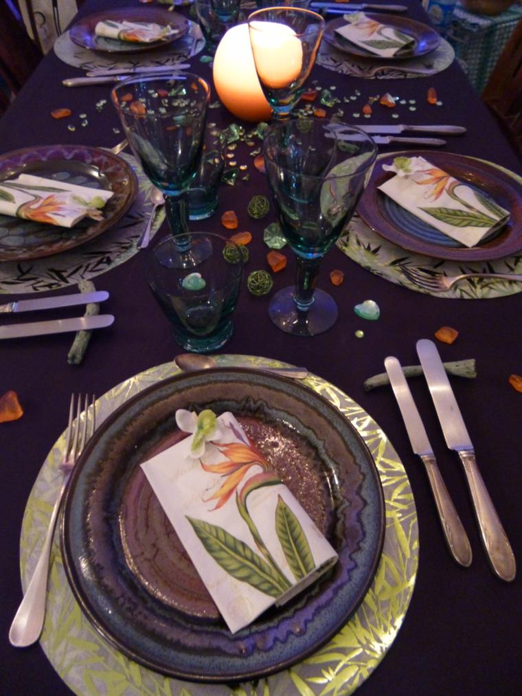 addobbi autunnali tavolo colore viola