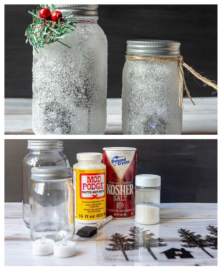 Materiali necessari per decorare un barattolo di vetro, lavoretti di natale fai da te facili