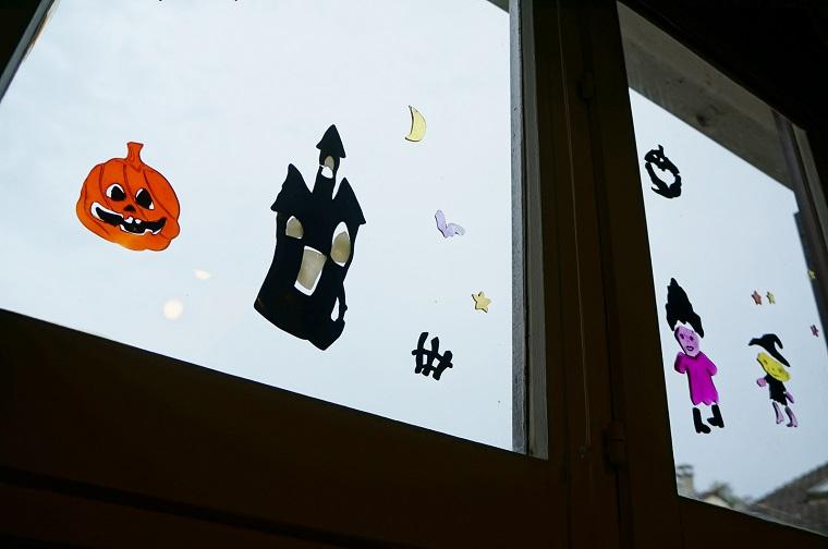 allestimento halloween stickers murale zucca castello bambini