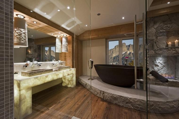 Vasca Da Bagno Vintage Misure : Idee bagno moderno con inserti in legno e pietra archzine