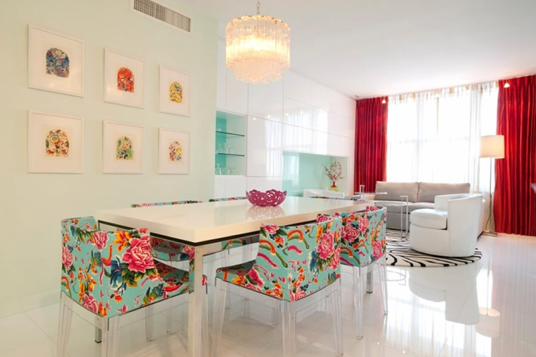 arredamento sala da pranzo moderno motivi floreali