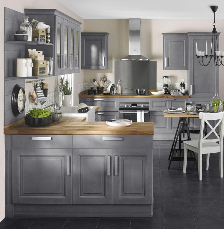 arredamento vintage bistrot penisola laterale colore grigio