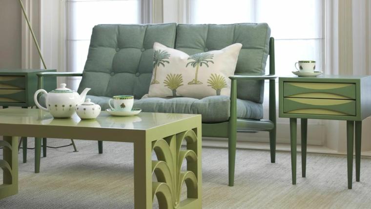 arredamento vintage moderno divano grigio tavolino verde militare