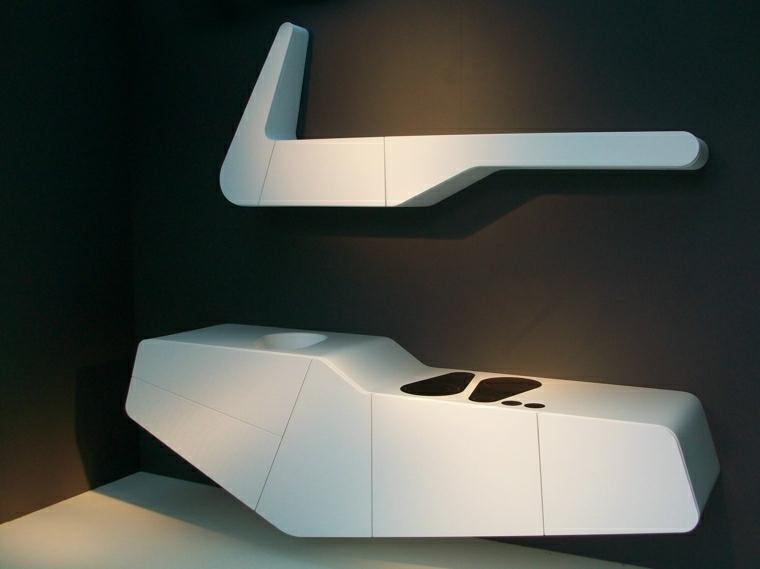 arredare cucina piccola design futuristico appeso muro