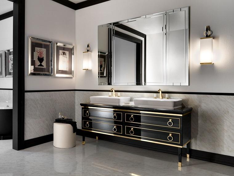 arredare il bagno idea mobili nero laccato