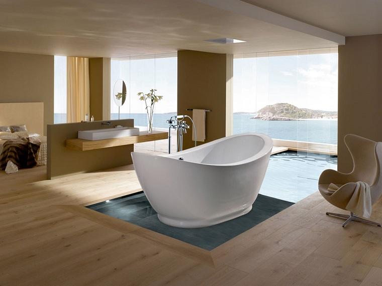 arredare il bagno moderno idea combinazione pavimentazione