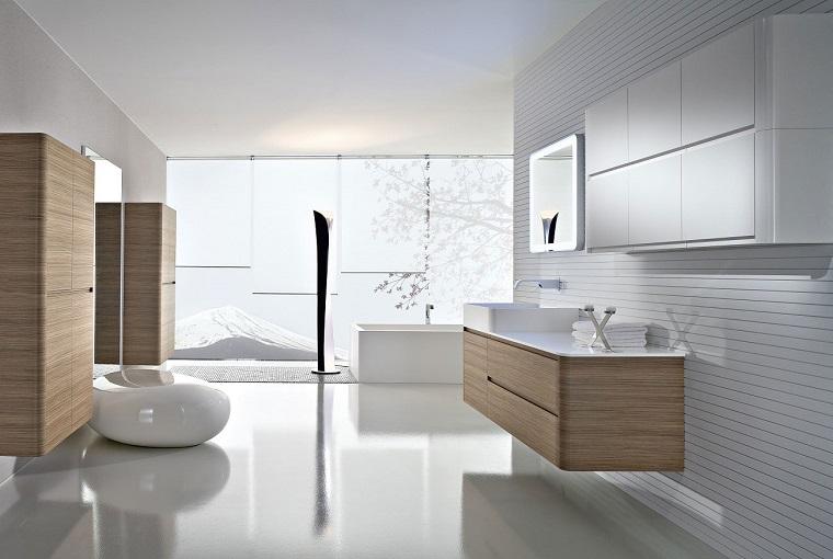 arredare il bagno parete vetro sanitari bianco