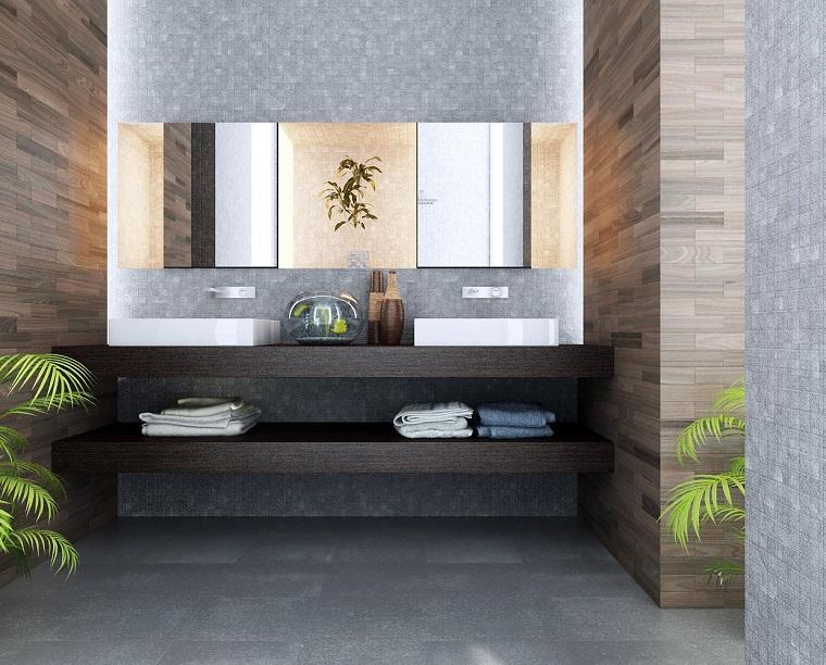 arredare il bagno stile contemporaneo mensole vista