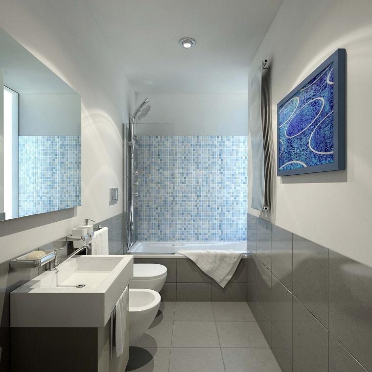 arredare il bagno stile contemporaneo piastrelle grigio
