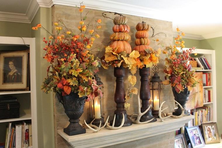 autunno idee decorazione mensola camino