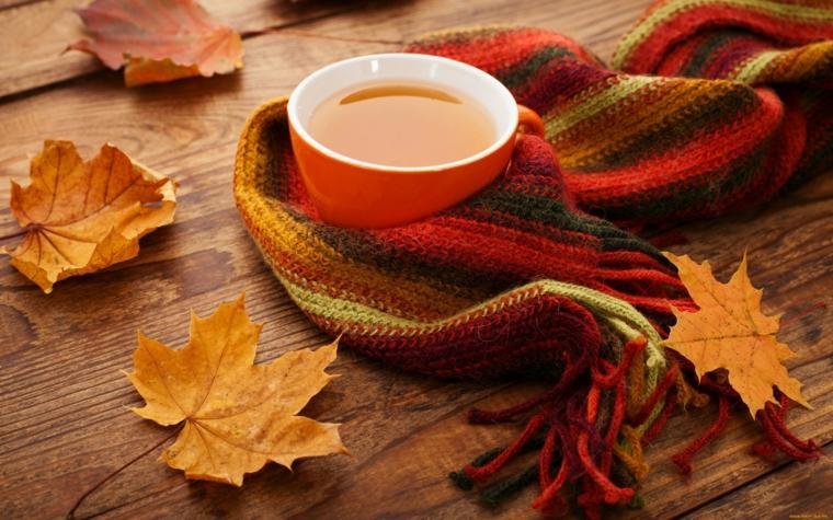 autunno tazza tè sciarpa foglie variopinte