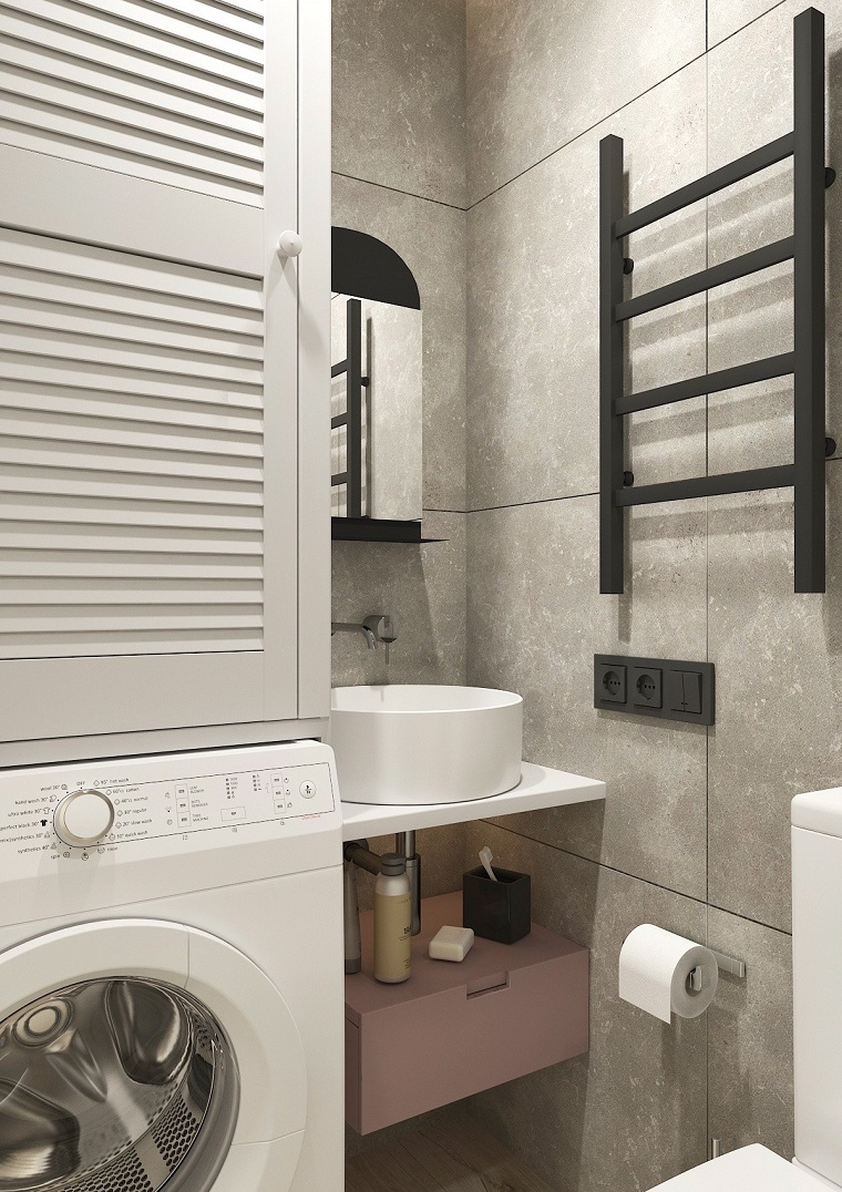 Bagno piccolo soluzioni salvaspazio, bagno con mobile lavabo da appoggio accanto alla lavatrice