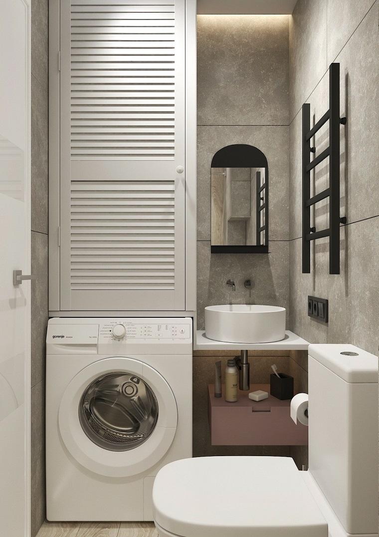 Come arredare un bagno piccolo, mobile lavabo da appoggio accanto ad una lavatrice