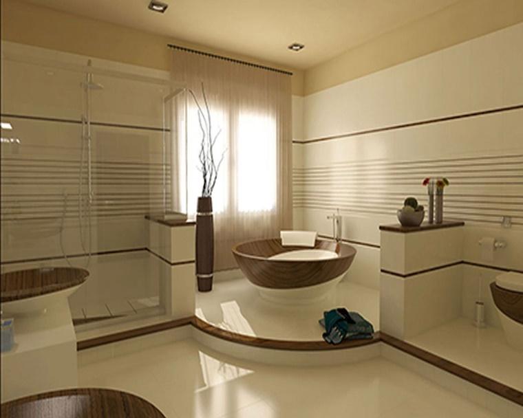 Idee bagno moderno con inserti in legno e pietra archzine