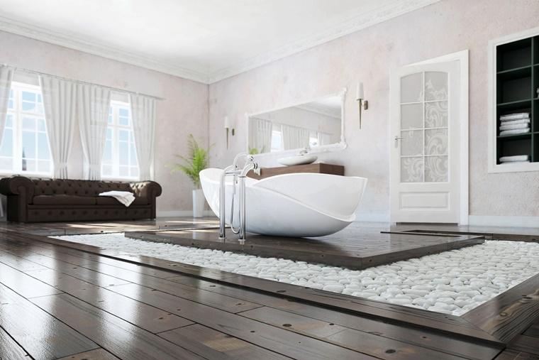 Bagno Stile Naturale : Idee bagno moderno con inserti in legno e pietra archzine.it