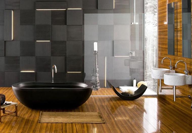 Idee bagno moderno con inserti in legno e pietra archzine.it