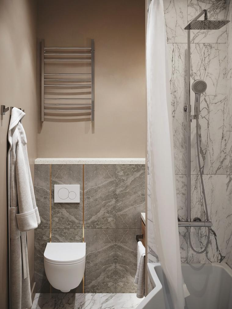 Arredare bagno lungo e stretto, box doccia con parete rivestita con piastrelle in marmo
