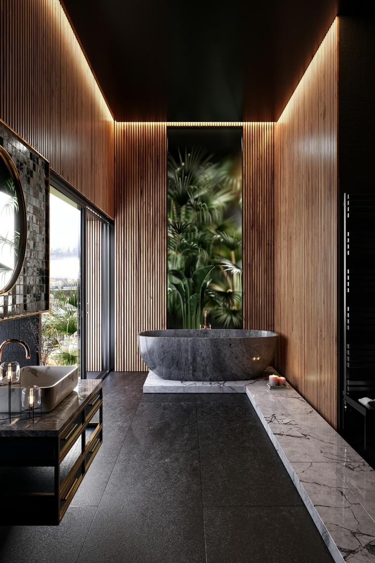 Rivestimenti bagni esempi, rivestimento bagno con pannelli in legno e vasca ovale