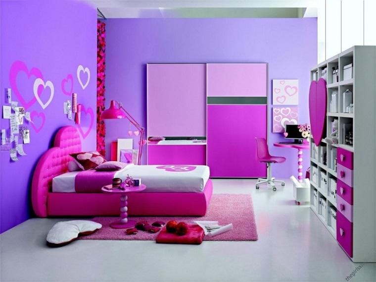 camera funzionale rosa viola testata letto cuore