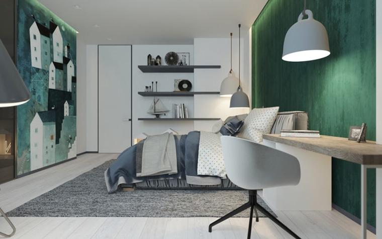 Camere per ragazzi un tocco di verde smeraldo meraviglioso for Arredamento semplice