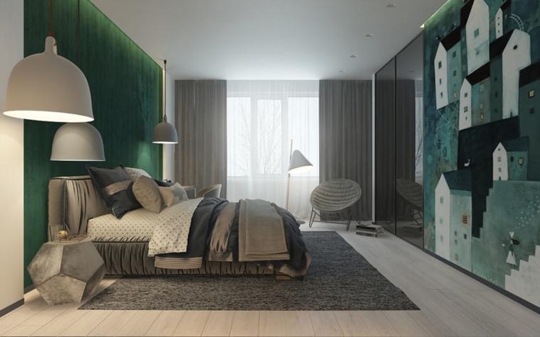 camere per ragazzi parete smeraldo