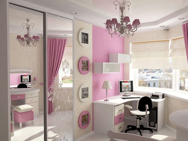 cameretta per ragazze decorazioni colore rosa
