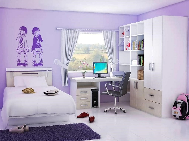 cameretta per ragazze design colore viola