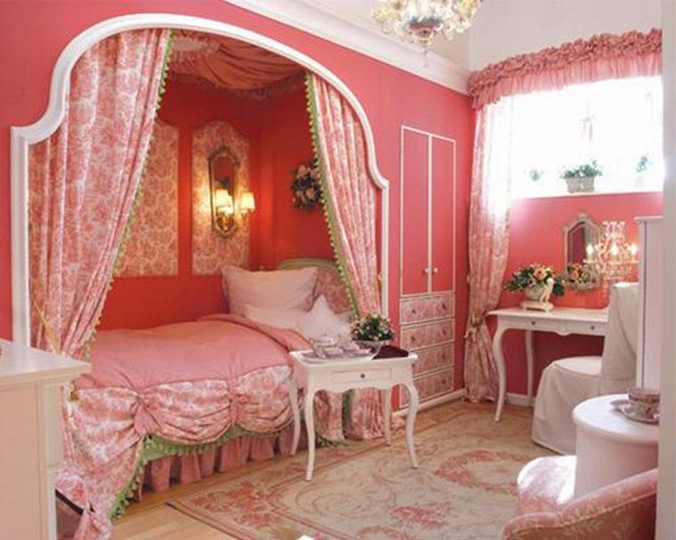 cameretta rosa principesse tenda letto