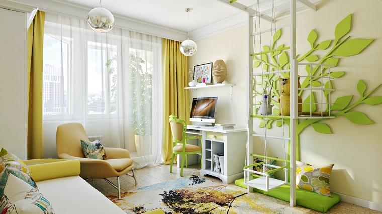 camerette per bambini arredamento colore verde