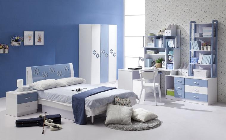 camerette per bambini arredamento pareti blu