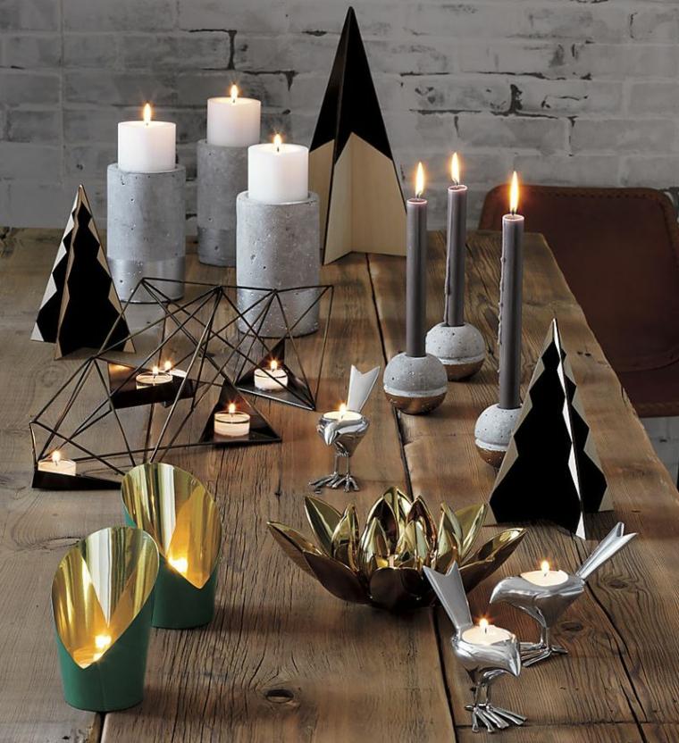 candelabri forme geometriche seguono linea colori foglie autannali