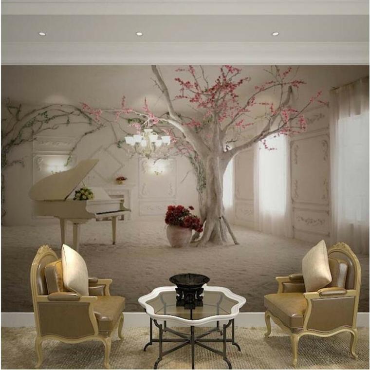 carta parati rappresenta quadro romantico albero pianoforte bianco