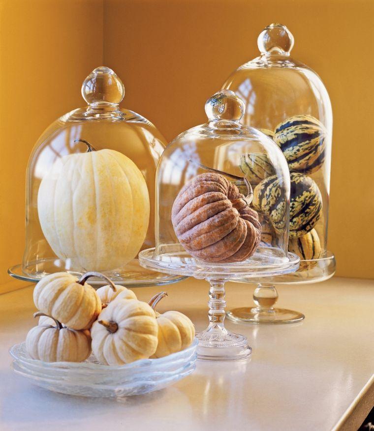 Centrotavola con zucca, foto zucche Halloween, mini zucche sotto campane di vetro