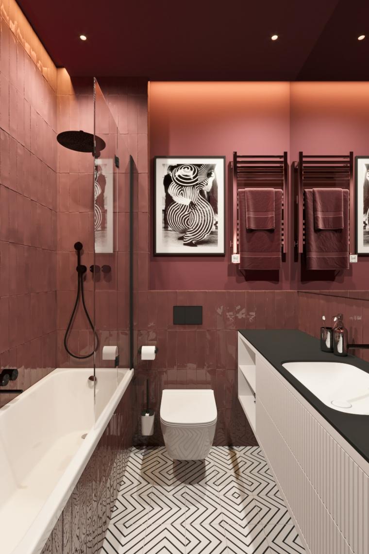 Rivestimenti bagni moderni immagini, sala da bagno con piastrelle di colore viola