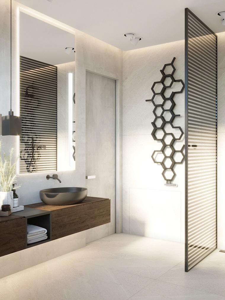 Rivestimenti bagni moderni immagini, mobile in legno con lavabo da appoggio