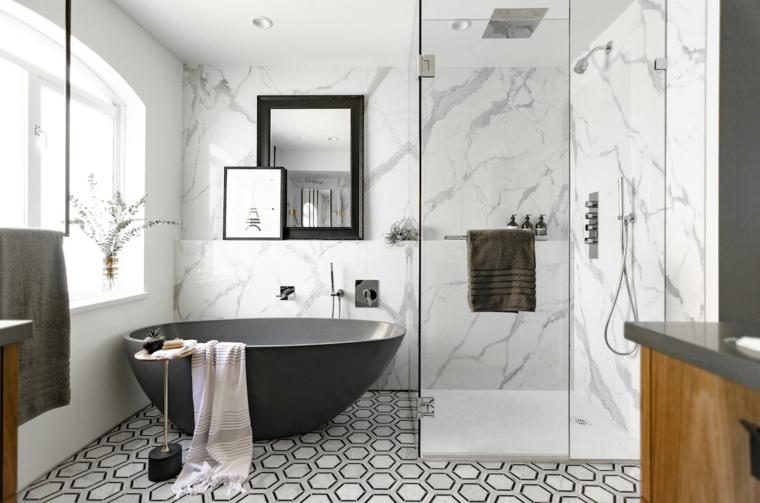 Idee bagno moderno piccolo, sala da bagno con box doccia e vasca ovale