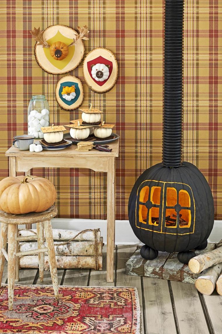 Come intagliare la zucca, decorazioni per Halloween, zucca intagliata forma stufa a legna