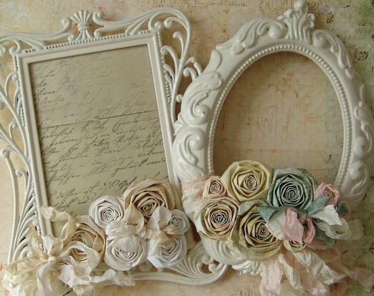 cornice foto ornamenti floreali bianco