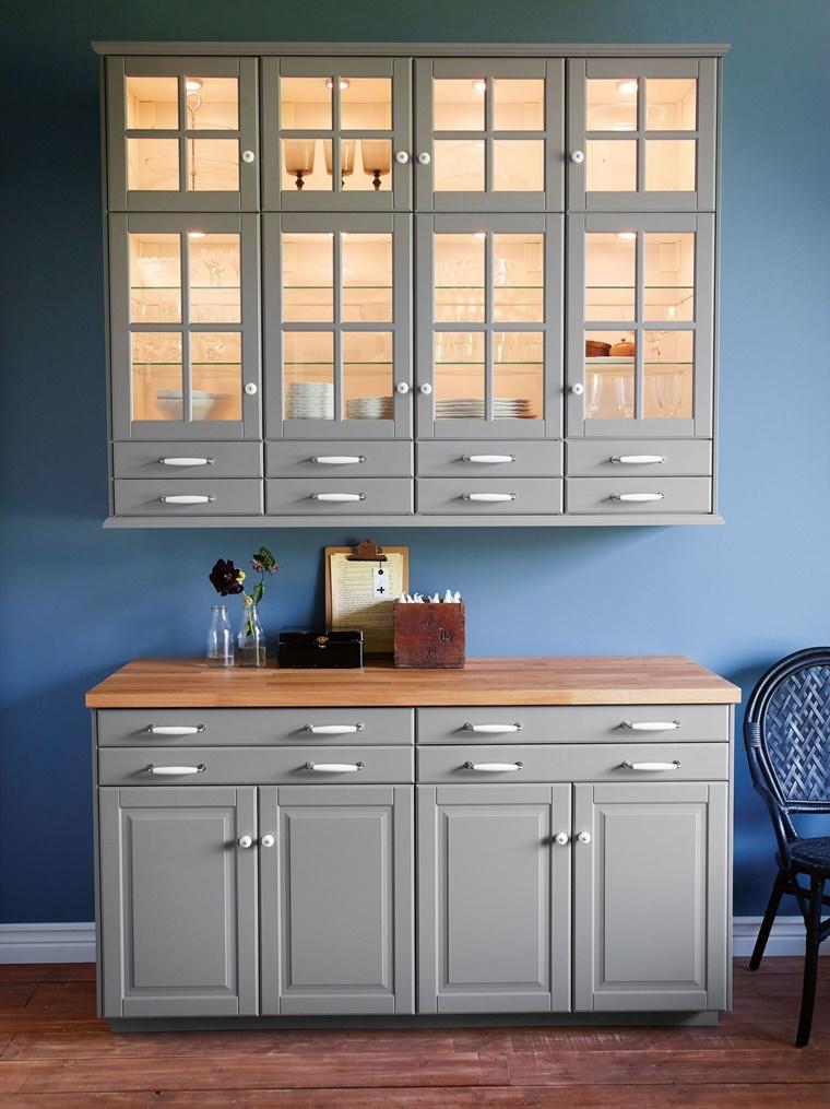 credenza cucina colore azzurro antre vetro