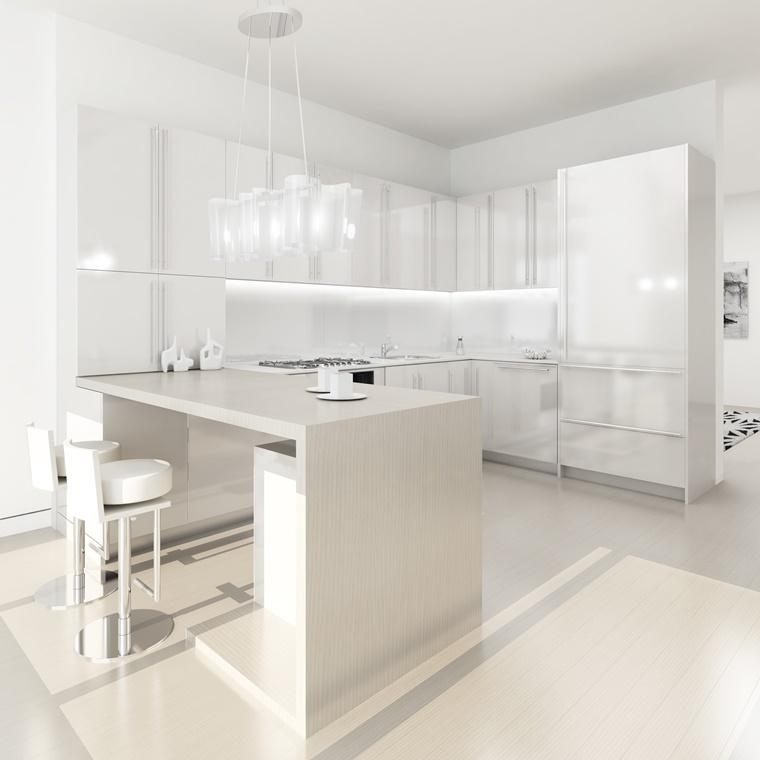 cucina bianca laccata stile moderno molto luminosa