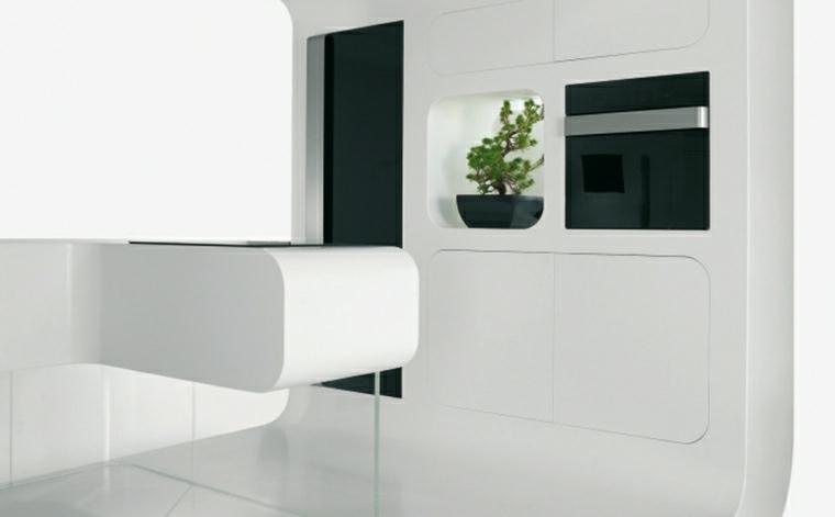 cucina bianco nero isola design futuristico
