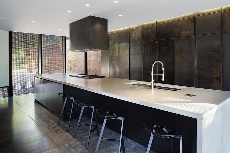cucina contemporanea mobili finitura metallica