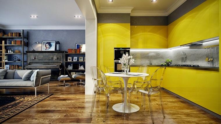 cucina gialla stile moderno integrata soggiorno