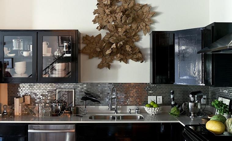 cucina moderna piastrelle mosaico acciaio inossidabile