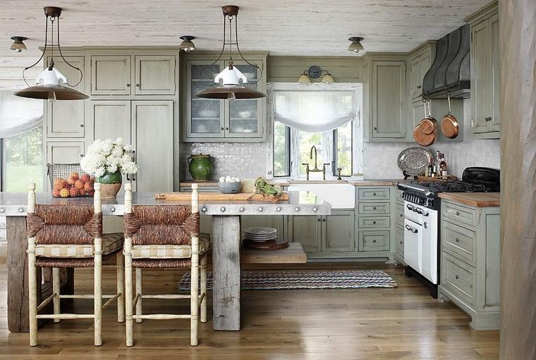 cucina moderna rustica isola centrale elementi metallo legno