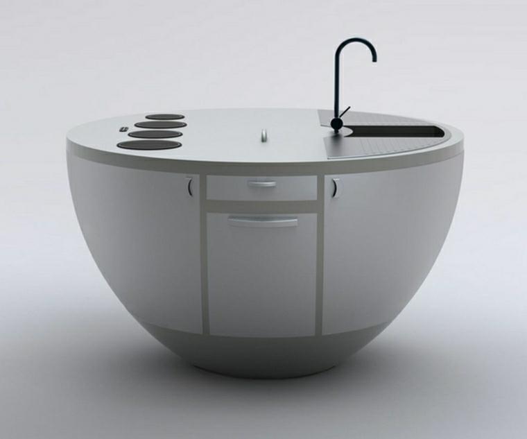 cucina piccola monoblocco bianco rotondo design interessante compatto